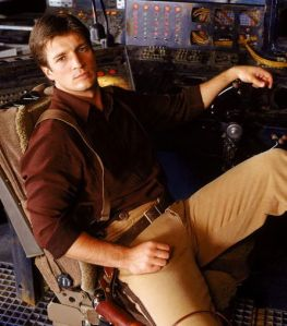 "I literally could have put any male character written in the past decade here, but Nathan Fillion is beautiful and Firefly is Da Bomb. Also, I rarely use the phrase ""Da Bomb"", so you know it must be true."